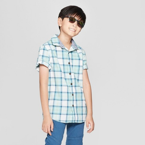 Boys' Woven Plaid Short Sleeve Button-Down Shirt - Cat & Jack™ Green/Gray - image 1 of 3