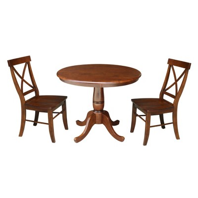 """3pc 36"""" Round Top Pedestal Table with 2 Chairs Dining Sets Espresso - International Concepts"""