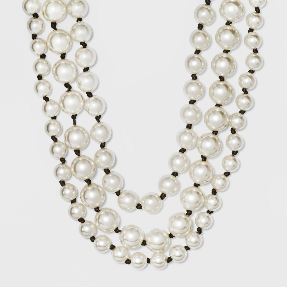 Multi Row Simulated Pearl Layered Necklace - A New Day White