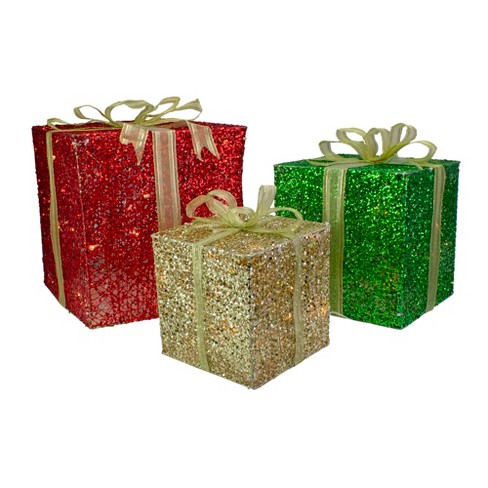 Christmas Present Decoration.Northlight Set Of 3 Glittery Red Green Gold Gift Box Lighted Christmas Outdoor Decoration