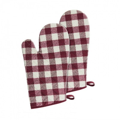 Kate Aurora 2 Pack Gingham Plaid Checkered Gingham Country Farmhouse Oven Mitts