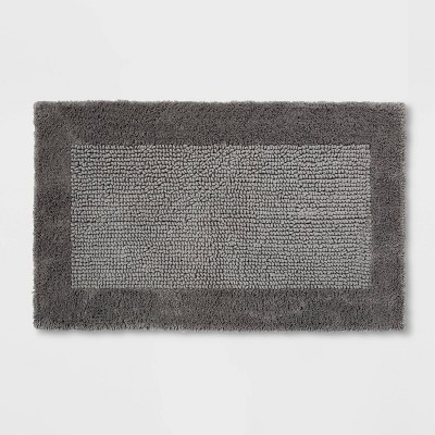 "20""x34"" Performance Textured Bath Rug Gray - Threshold™"