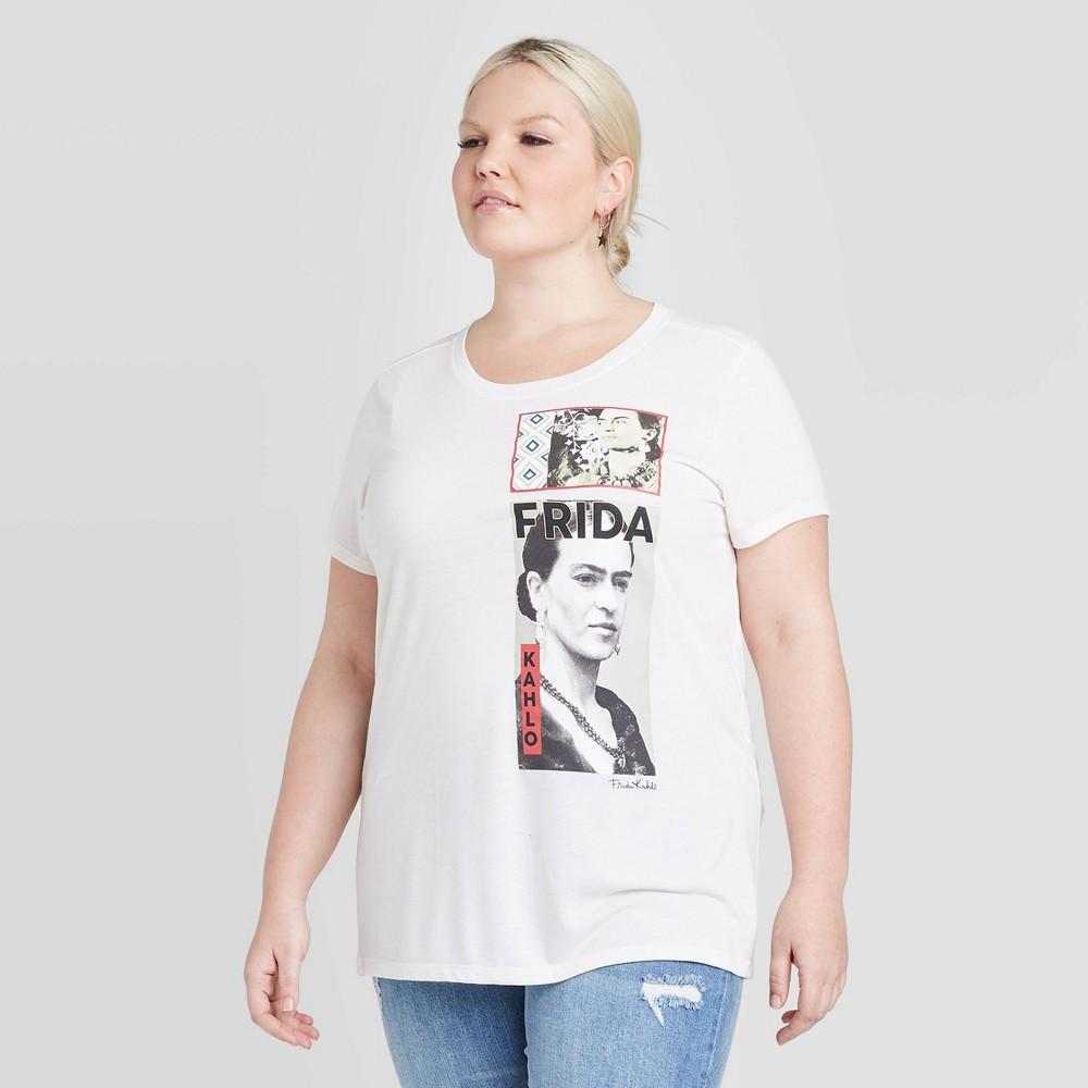 Image of Women's Frida Kahlo Plus Size Short Sleeve Graphic T-Shirt (Juniors') - Cream 3X, Women's, Size: 3XL, Beige