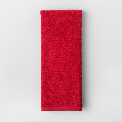 Solid Diamond Weave Kitchen Towel Red - Made By Design™