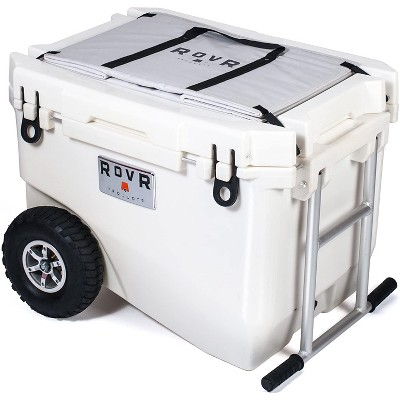 RovR RollR High Quality Portable Bear Proof Rolling Outside Insulated Icebox Cooler with Convenient Travel Wheels, 60 Quart, White