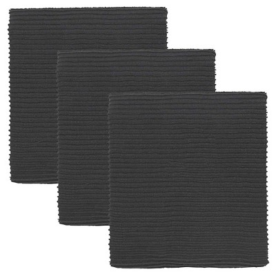 Black Turkish Cotton Ripple Kitchen Towels (Set Of 3)