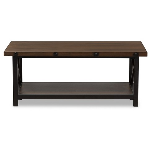 Herzen Rustic Style Antique Textured Finished Metal Distressed Wood Occasional Tail Coffee Table Black Baxton Studio Target