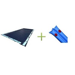 Swimline 18 x 36 Foot Dark Blue Rectangular In Ground Winter Pool Cover with Water Tubes