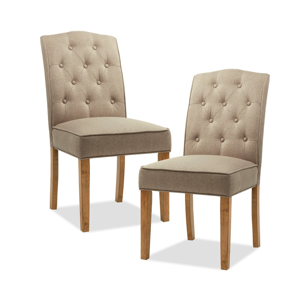 Set of 2 Khloe Tufted Dining Chair Taupe (Brown)