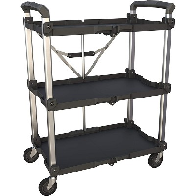 Olympia Tools Pack N Roll Collapsible Folding Aluminum 300 Pounds Capacity 3 Shelf Service Office Utility Cart, Black
