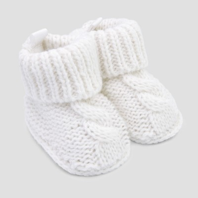 Baby's Knitted Cable Knit Slipper - Just One You® made by carter's White Newborn