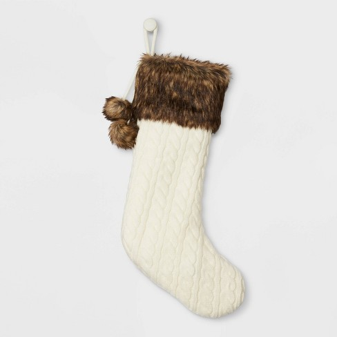 Cable Knit Christmas Stocking with Faux Fur Cuff & Pom Poms Cream - Wondershop™ - image 1 of 3