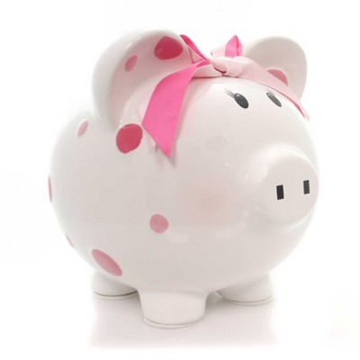 "Bank 7.75"" Pink Multi Dot Bank Bow Save Money Girl  -  Decorative Banks"