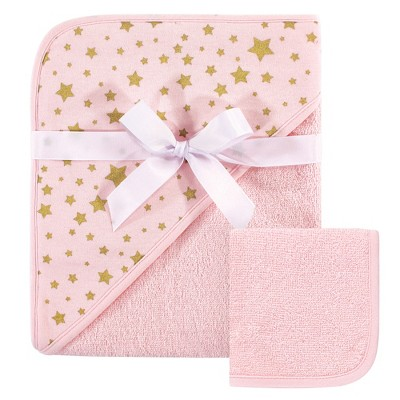 Hudson Baby Infant Girl Cotton Hooded Towel and Washcloth 2pc Set, Pink Gold Star, One Size