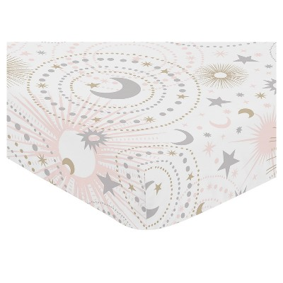 Sweet Jojo Designs Fitted Crib Sheet - Celestial - Pink/Gold