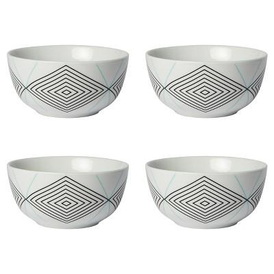 Cheeky® Memphis 20oz Porcelain Bowl - Black Diamond with Teal X - 4-pack