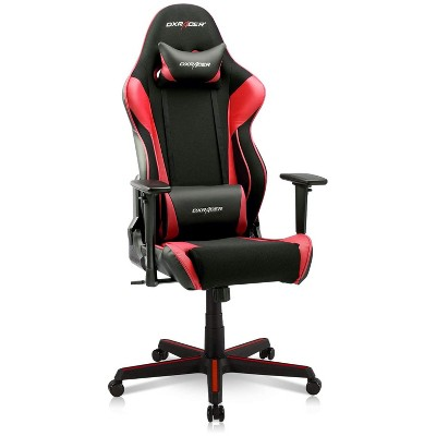 DXRacer OH/RAA106/NR Racing Series Adjustable Ergonomic Gaming Home Office Desk Chair, Swivel Base, Wheels, and Headrest, Red and Black