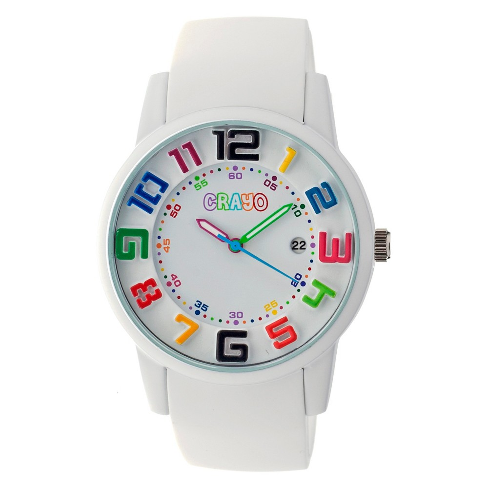 Image of Women's Crayo Festival Watch with 3D Raised Numbers and Date Display-White, Size: Small