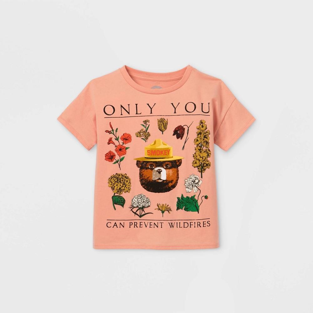 Girls 39 Smokey Bear Short Sleeve T Shirt Pink Xl