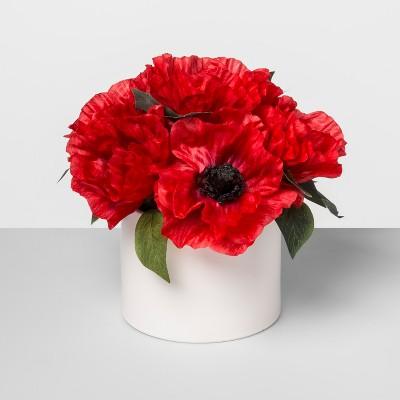 9  x 7.5  Artificial Poppy Arrangement In Ceramic Pot Red/White - Threshold™