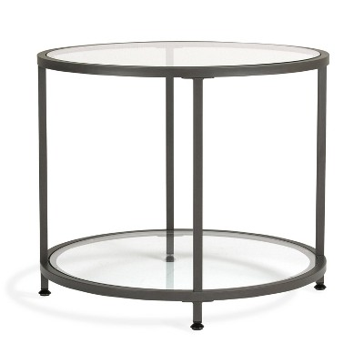 "26"" Camber Modern Glass Round End Table - Studio Designs"