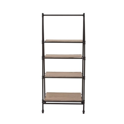 "56"" A Frame Bookshelf with 4 Shelves Black - Olivia & May"