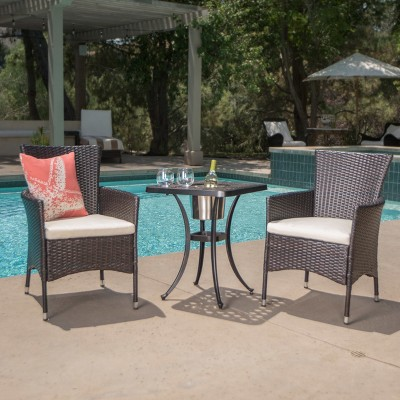 Ava 3pc Aluminum and Wicker Bistro Set with Ice Bucket -Brown /Shiny Copper- Christopher Knight Home