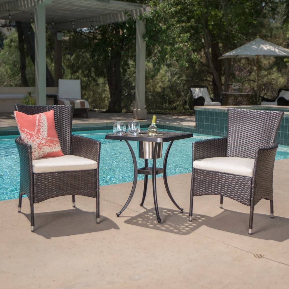 Ava 3pc Aluminum And Wicker Bistro Set With Ice Bucket Brown Shiny Copper Christopher Knight Home