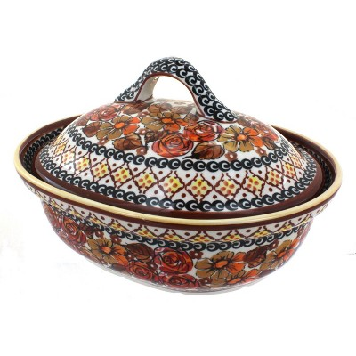Blue Rose Polish Pottery Autumn Rose Small Oval Baker with Lid