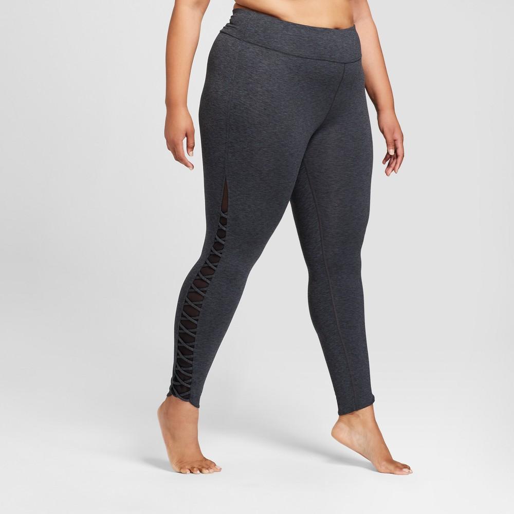 Plus Size Women's Plus Comfort Lattice 7/8 Leggings - JoyLab Charcoal Gray Heather 2X, Charcoal Grey Heather