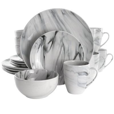 16pc Stoneware Fine Marble Dinnerware Set Black/White - Elama