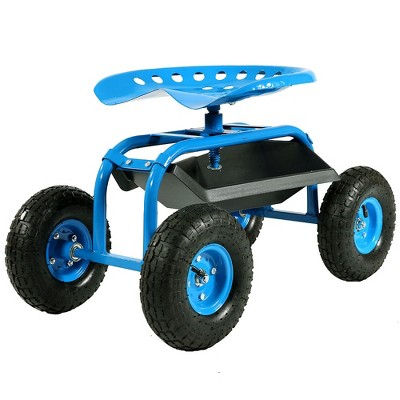 Rolling Garden Cart with Swivel Seat and Tray - Blue - Sunnydaze Decor