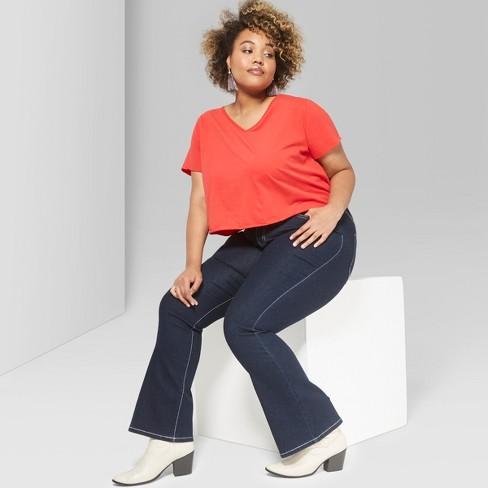 d9ac2ca2e6 Women s Plus Size High-Rise Flare Jeans - Wild Fable™ Dark Wash 24W ...