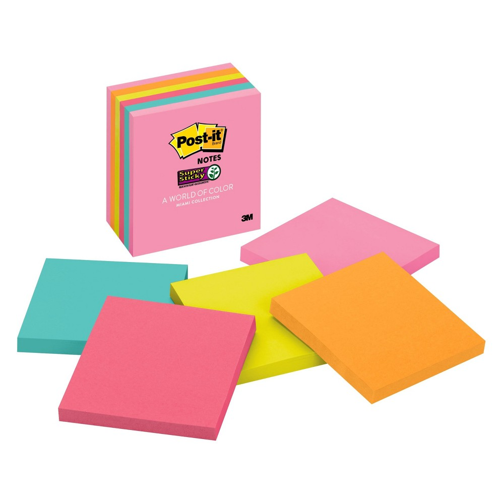 "Image of ""Post-it 3"""" x 3"""" 6pk 65 Sheets/Pad Super Sticky Notes Miami Collection"""