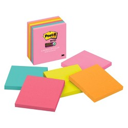 """Post-it® 3"""" x 3"""" 6pk 65 Sheets/Pad Super Sticky Notes Miami Collection"""