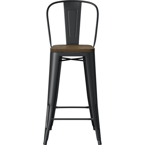 Miraculous Carlisle Wood Seat Backed Barstool Matte Black Threshold Unemploymentrelief Wooden Chair Designs For Living Room Unemploymentrelieforg