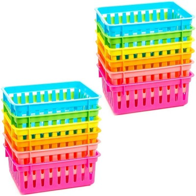 Bright Creations 12-Pack Plastic  Storage Baskets for Classroom Organizer, 6 Colors (6.1 x 4.8 x 2.3 In)