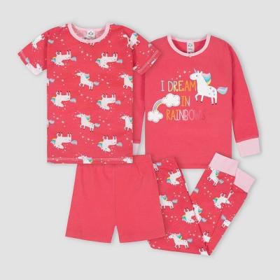 Gerber Toddler Girls' 4pc Unicorn 100% Cotton Pajama Set - Red/Pink 4T