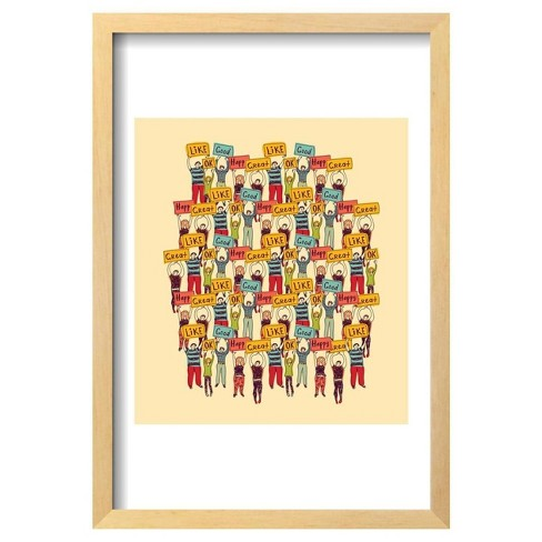 "Big Group Casual Happy People Color By Karrr Framed Poster 13""X19"" - Art.Com - image 1 of 4"