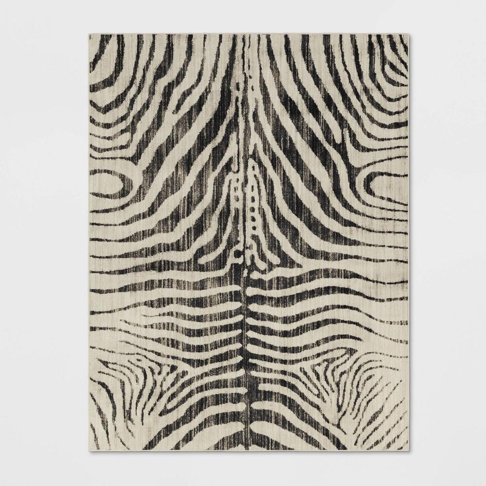 Zebra Stripe Woven Area Rug Black
