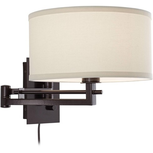 Possini Euro Design Modern Swing Arm Wall Lamp Bronze Plug-In Light Fixture Ivory Cotton Blend Drum Shade Bedroom Bedside Reading - image 1 of 4