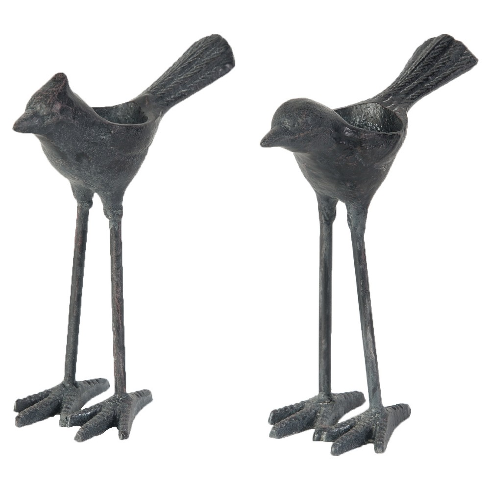 Image of 2pc Cast Iron Bird Tealight Candle Holders Set - A&b Home, Black