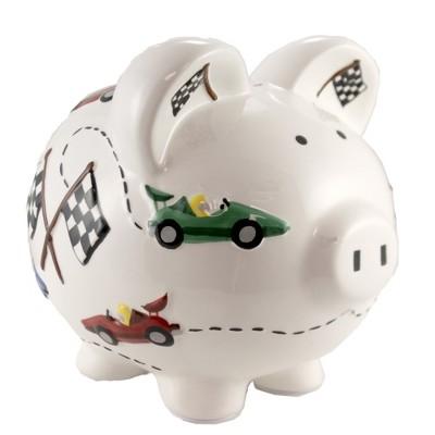 "Bank 7.75"" Vroom Race Car Piggy Bank Speedway Checkered Flag  -  Decorative Banks"