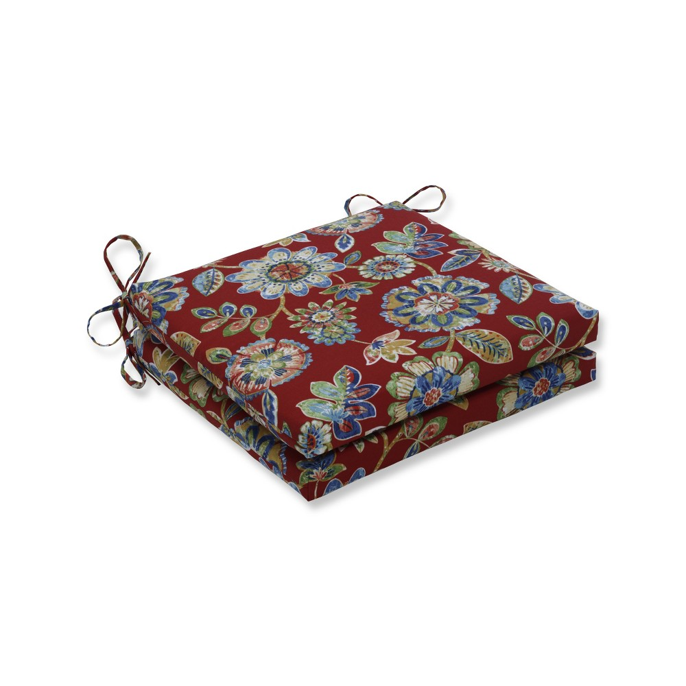 Indoor/Outdoor 2pc Daelyn Cherry Squared Corners Seat Cushion - Pillow Perfect, Multi-Colored