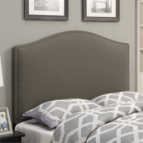 Wood Camel Back Upholstered King Headboard in Taupe Brown-PRI - image 1 of 3