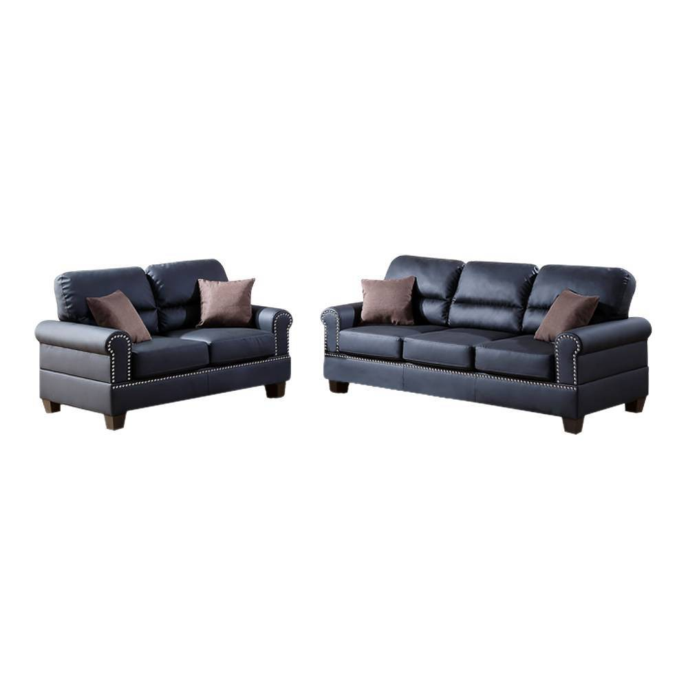Image of 2pc Bonded Leather Sofa Set with Pillows Black - Benzara