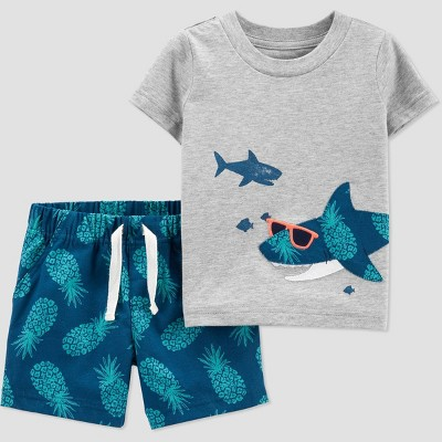 Baby Boys' Pineapple Shark Top & Bottom Set - Just One You® made by carter's Gray/Blue/Green 9M