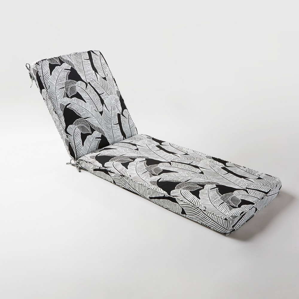 Image of Mod Palm Outdoor Chaise Cushion Black - Project 62, Black/White