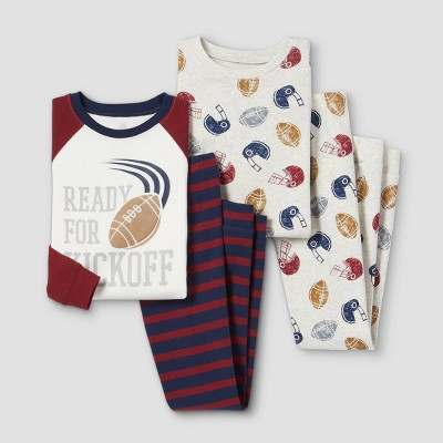 Boys' 4pc Football Pajama Set - Just One You® made by carter's Gray/Red