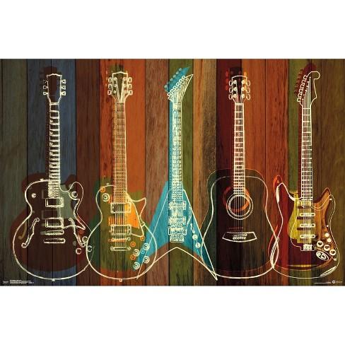 "34""x23"" Guitars Wall of Art Unframed Wall Poster Print - Trends International - image 1 of 2"